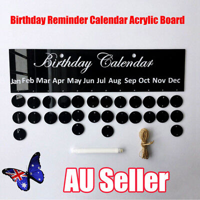 Birthday Reminder Calendar Acrylic Board Sign Wall Plaque Hanging Decor BO