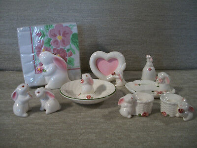 Avon Bunny Lot/7 Easter Tapers Bell Trinket Dish S/P Shakers Frame Candy Napkins