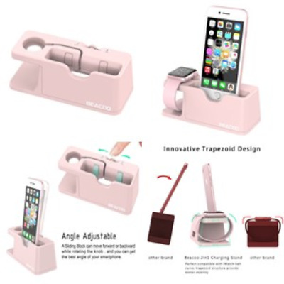 New Pink Apple Watch Stand Charge Station For iPhone iWatch Dock Holder 38/ 42mm