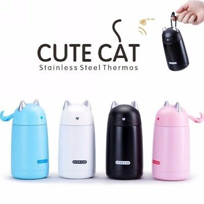 Vacuum Flask Mug Cute Cat Thermos Stainless Steel Hot Water Bottle Travel Cup