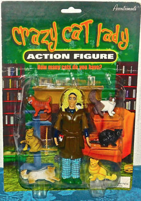 NIB Crazy Cat Lady Action Figure by Accoutrements, Pop Culture, 6 cats Christmas