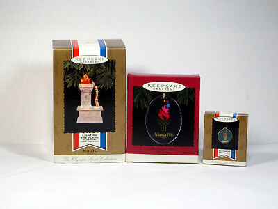 "3) Hallmark Ornaments "" Olympic Spirit"" -Atlanta-1996-Nib"