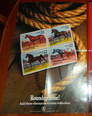 Horses USPS 22c Stamp Poster 1985 Post Office Lobby