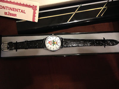 """LeJour """"Ernie Keebler"""" watch, new old stock in box,second hand issue,runs    C56"""