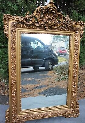 Large Antique French louis XV style  Carving Gold Gilded Mirror