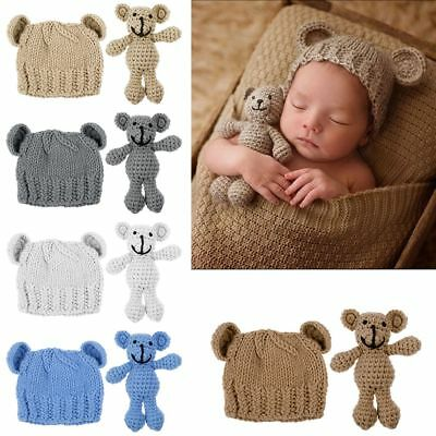 Newborn Baby Girl Boy Photography Prop Photos Crochet Knit Costume Bear +Hat Set