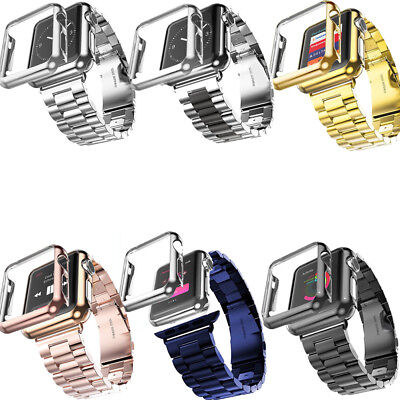 NEW Stainless Steel Strap Watch Band Protect Case Cover for Apple Watch Series 3