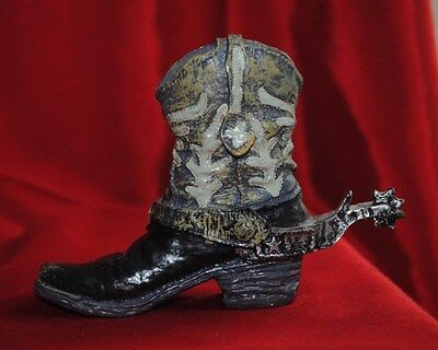 "Western Resin Cowboy Boot w/ Spur Collectible 4"" Realistic Black w/ Gray Detail"