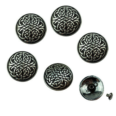 "Set of 6 WESTERN HORSE SADDLE TACK 1-1/8"" ANTIQUE CELTIC CONCHOS screw back"