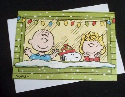Hallmark Christmas note card w/Charlie Brown, Snoopy & Sally-glitter accented