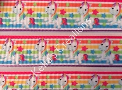 """Unicorn Grosgrain Ribbon 7/8""""- 22mm sold by 2 M -Craft- Hair bows-Lanyards"""
