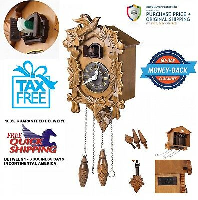 """Handcraft Wood Cuckoo Clock Wall Clock 10.5"""" H linden wood (Black Forest Style)"""