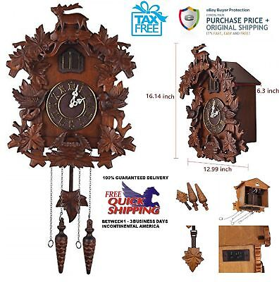 """Large Deer Handcraft Wood Cuckoo Clock Wall Clock 16"""" (H) (Black Forest Style)"""