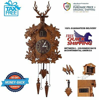 """Large Deer Handcraft Wood Cuckoo Clock Wall Clock 21"""" (H) (Black Forest Style)"""
