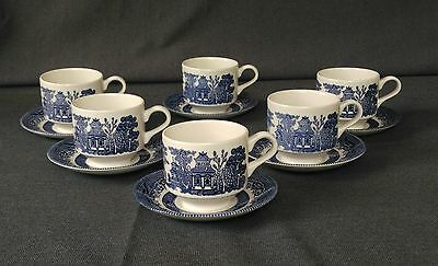 """Vintage """"CHURCHILL ENGLAND""""  Blue Willow Tea Cups & Saucers - Set of 6"""