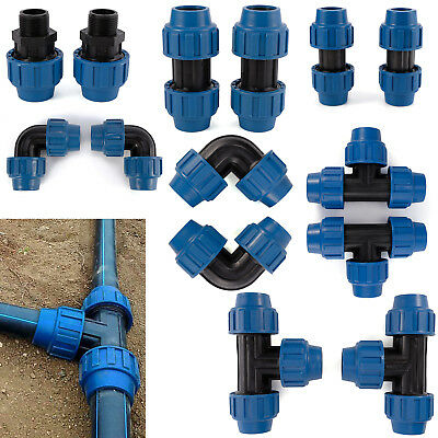 2x MDPE Plastic Compression Fittings For Water Pipe 25/32mm