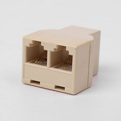 1 to 2 Female RJ11 Telephone 4C Jack Line Splitter Adapter Connector Beige