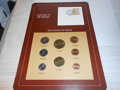 Vtg Coin Sets of All Nations OMAN  w/card 1970- 1980 UNC 100 Basia 3 Feb 85 HTF