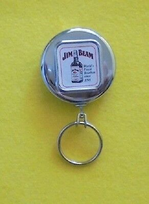 JIM BEAM RETRACTABLE METAL KEY CHAIN WITH BELT CLIP FROM 1970s NEVER USED