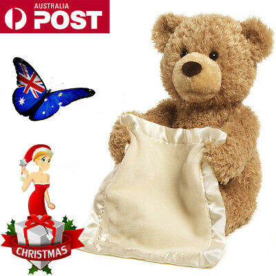 AU Peek A Boo Bear Baby Plush Interactive Teddy Toy Animated Talking Blanket Toy