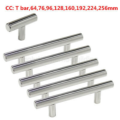 Stainless Steel T Bar Cabinet Door Handles Drawer Pulls Knobs Polished Chrome