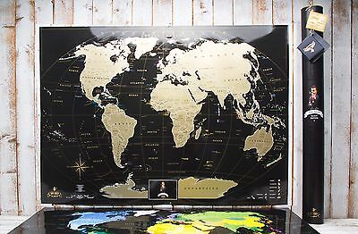Deluxe Black Scratch off map - Best gift, large world map,Personal map, push pin