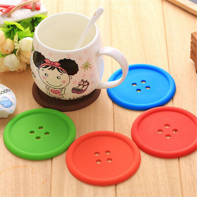Silicone Coaster Round Cute Button Coasters Cup Cushion Drink Placemat in Tea