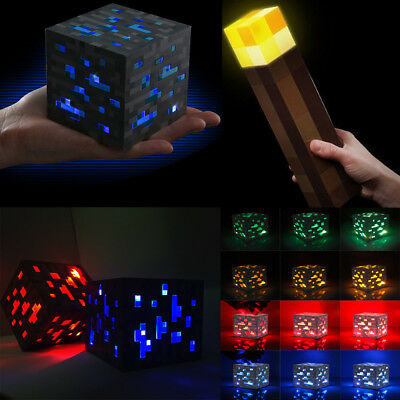 Minecraft Diamond Light Night Up Lamp Wall Torch Ore Cube For Kids Xmas Gift Toy