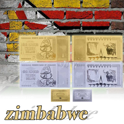 WR Zimbabwe 100 Trillion Dollars Bank Notes 999 24K GOLD SILVER Money Collection