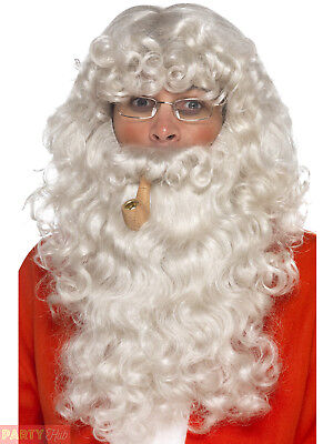 Deluxe Santa Claus Wig Beard Pipe Glasses Father Chrismtas Costume Accessory Kit