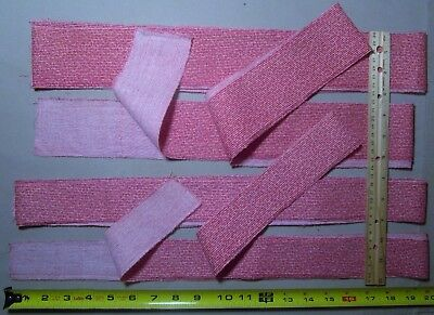 Antique Fabric 19c Pink Binding strips 4 pcs Quilts