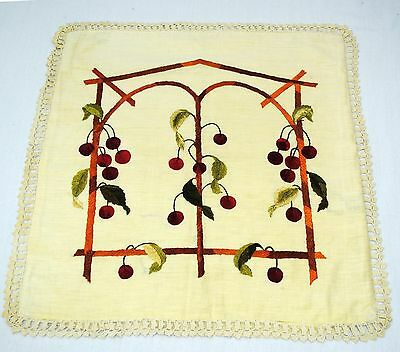 Art & Crafts Linen Embroidered Cherries Pillow Cover