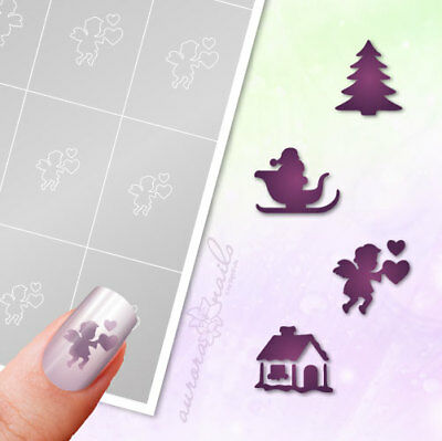 Airbrush + Nailart Stick Templates WS14 Winter Christmas Angels Home Sleds