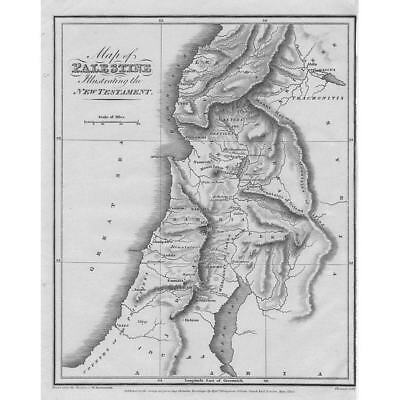 PALESTINE Illustrating the New Testament - Antique Map 1815 by Thomson
