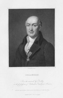 JEAN BAPTISTE DELAMBRE French Mathematician and Astronomer Antique print 1835