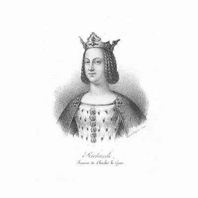 Richgard French Queen Wife of Charles the Fat - Antique Print c1850