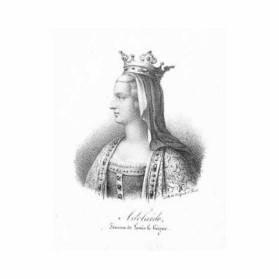 Adelaide of Paris French Queen Wife of Louis the Stammerer - Antique Print c1850