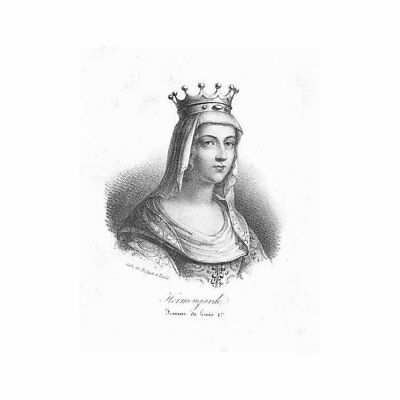 Ermengarde French Queen Wife of Louis I - Antique Print c1850