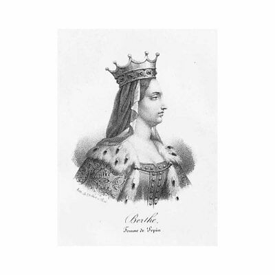 Berthe French Queen Wife of Pepin the Short - Antique Print c1850