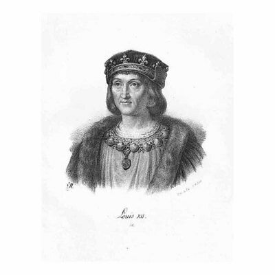 Louis XII King of France; House of Valois, King of Naples - Antique Print c1850