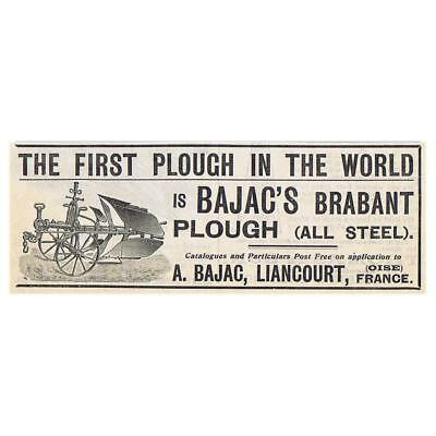 LIANCOURT, France Bajac's Brabant 1st Plough in the World-Antique Advert 1904