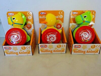 BABY KIDS BOYS GIRLS ROLLING ANIMAL ACTION FUN TOY GIFT 0+ Months DUCK, HORSE