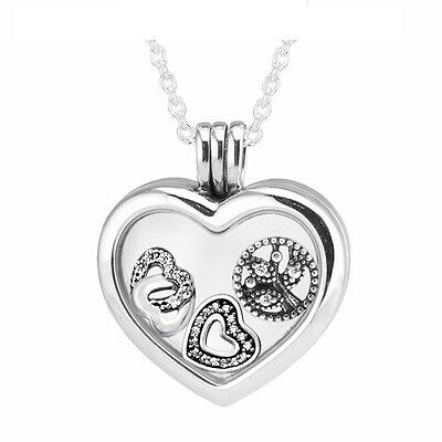 Pandora Floating Heart Locket Necklace + Love & Family Petites + gift pouch