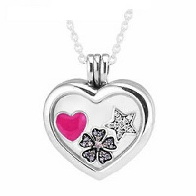Pandora Floating Heart Locket Necklace + star flower heart Petites + gift pouch