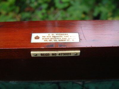 ANTIQUE Mahogany  sewing work box by Royal Appointment J C VICKERY