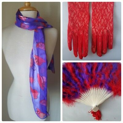 NWT Red Hat Society Lot 3 Fashion Accessory Print Scarf Feather Fan Lace Gloves