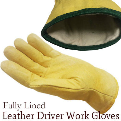 5 Pairs Fleece Cotton Lined Leather Lorry Drivers Work Gloves Safety DIY Quality
