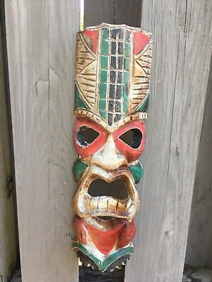 Vintage African (?) Wood Carved Wall Mask Ornate Tribal Folk Art 11 x 17 Voodoo?