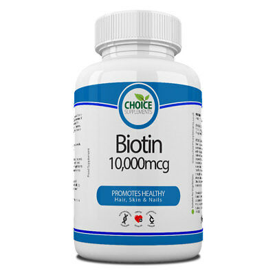 Biotin 10000mcg Max Strength Vitamin B7 30 -1 Year Tablets Hair Nail And Skin
