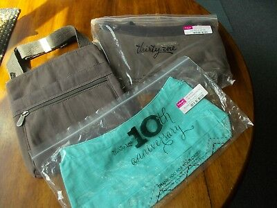 Thirty One Brown Skirt Purse W Turquoise Top & Crossbody Canvas Purse New 3 Pc